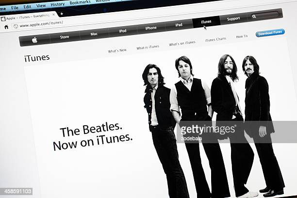 the beatles on itunes, apple.com website - the beatles stock pictures, royalty-free photos & images