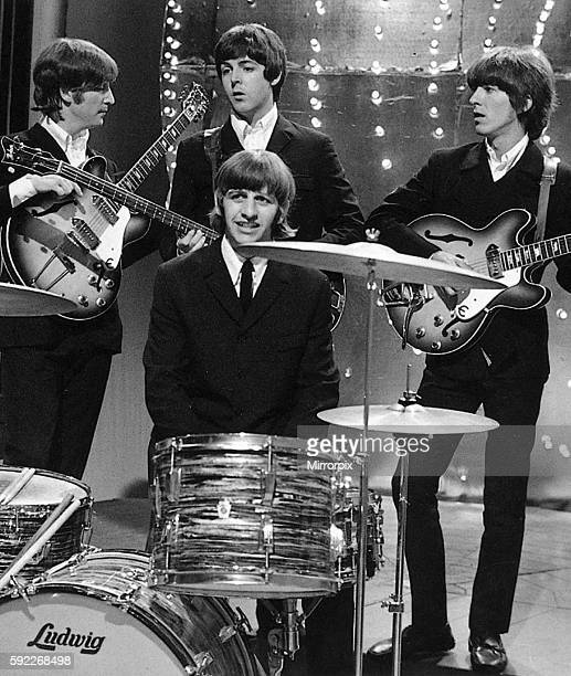 The Beatles on the set of Top of the Pops their first and last time on the show 16th June 1966