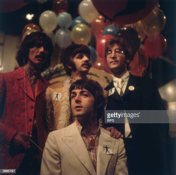 The Beatles one of the most famous groups in the history of pop music from left to right George Harrison Ringo Starr John Lennon and in front Paul...