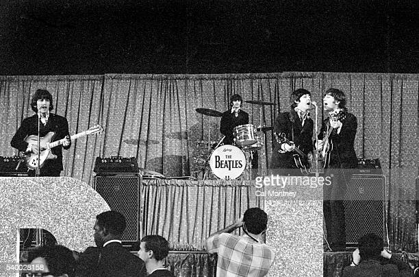 The Beatles perform at Dodger Stadium on August 28 1966 in Los Angeles California