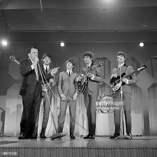 The Beatles perform at the Deauville Hotel Miami Beach Florida for THE ED SULLIVAN SHOW From left Ed Sullivan Paul McCartney Ringo Starr George...