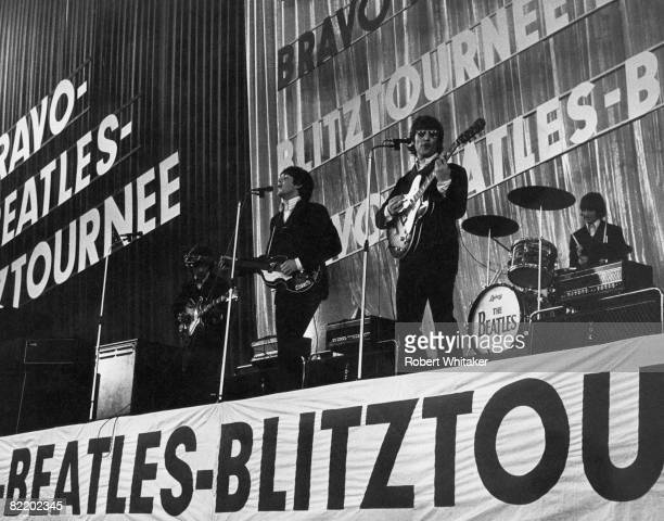 The Beatles perform at the Ernst Merck Halle Hamburg on their final world tour 26th June 1966 Left to right George Harrison Paul McCartney John...