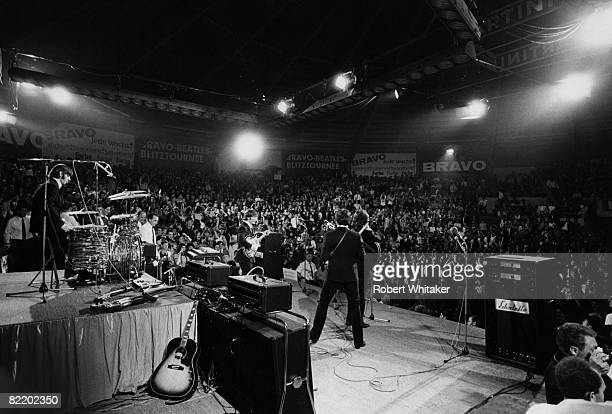 The Beatles perform at the Ernst Merck Halle Hamburg on their final world tour 26th June 1966 Left to right Ringo Starr John Lennon Paul McCartney...