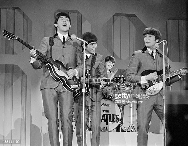 The Beatles perform in the Deauville Hotel Miami Beach Florida for THE ED SULLIVAN SHOW From left Paul McCartney George Harrison Ringo Starr and John...