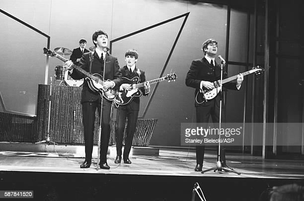 The Beatles perform on Sunday Night At The London Palladium 13th October 1963 LR Ringo Starr Paul McCartney George Harrison John Lennon