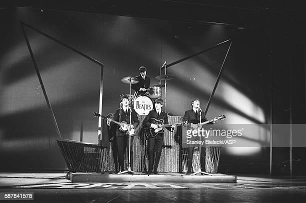 The Beatles perform on Sunday Night At The London Palladium 13th October 1963 LR Paul McCartney Ringo Starr George Harrison John Lennon
