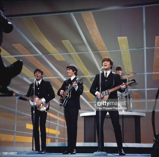 The Beatles performing on the Ed Sullivan Show New York City 9th February 1964 Left to right Paul McCartney George Harrison John Lennon and Ringo...