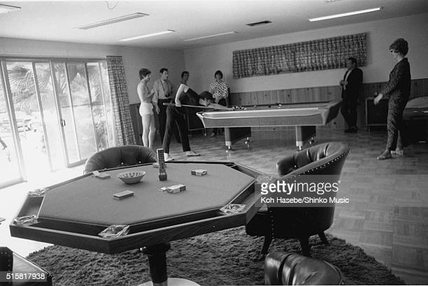 The Beatles play pool while staying at Curson Terrace in Beverly Hills California on their day off August 26 1966