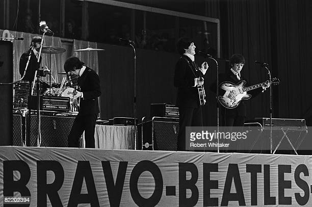 The Beatles play their second, evening, concert at the Grugahalle in Essen during the German leg of their final world tour, which was sponsored by...