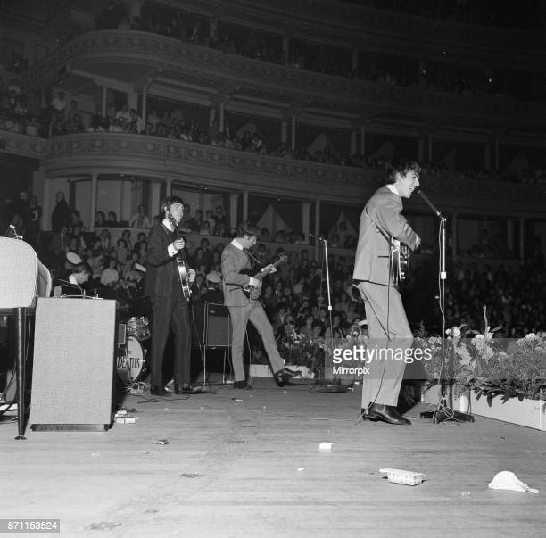 The Beatles pop group performing on the stage at The Royal Albert Hall for The Great Pop Prom. L-R: Ringo Starr, Paul McCartney, John Lennon and...