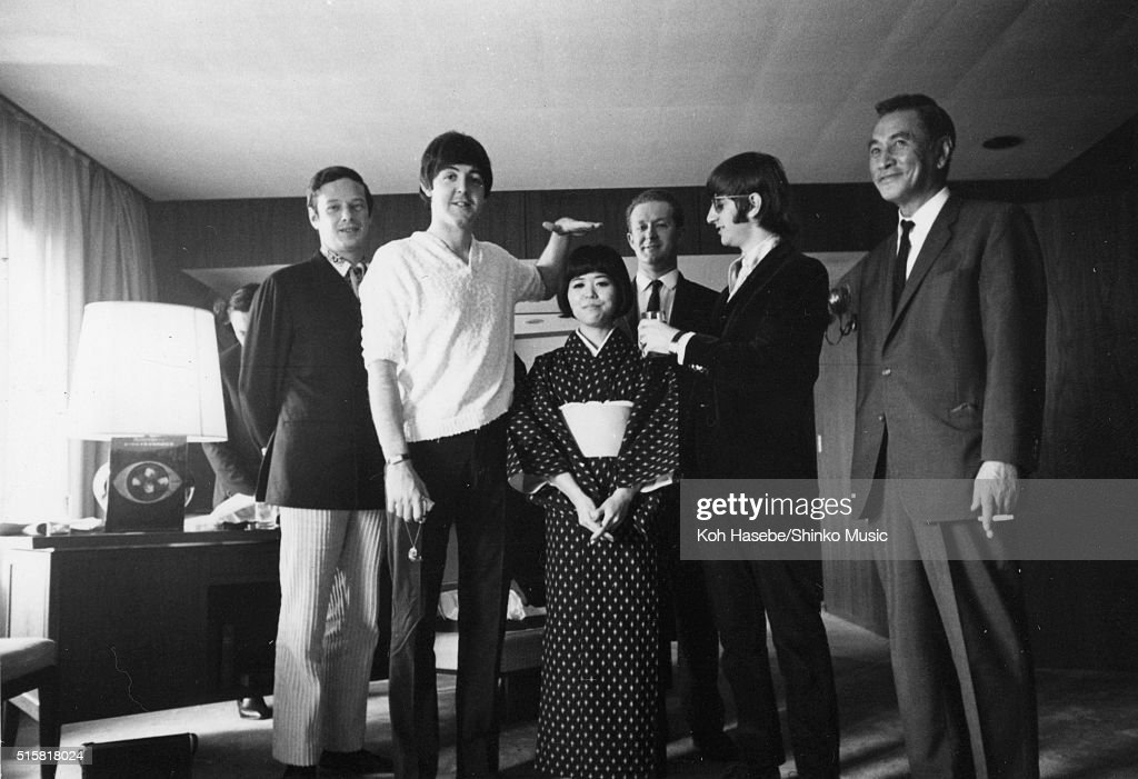 The Beatles pose during an interview for Japanese music magazine