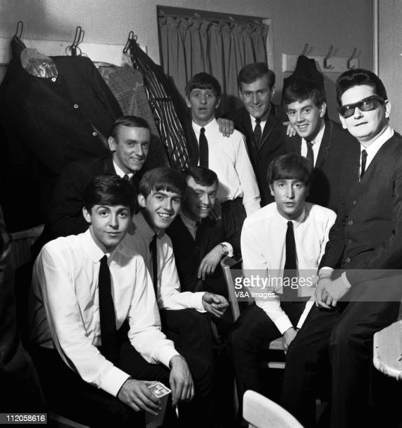 The Beatles pose with Roy Orbison and Gerry And The Pacemakers backstage in their dressing room during a UK tour LR Paul McCartney Freddie Marsden...