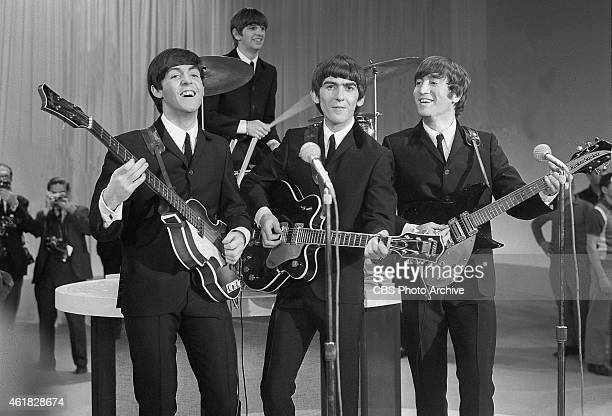 The Beatles prepare for their first appearance on The Ed Sullivan Show in New York February 9 1964 From left to right Paul McCartney Ringo Starr...