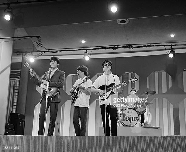 The Beatles rehearse at the Deauville Hotel Miami Beach Florida for THE ED SULLIVAN SHOW From left Paul McCartney George Harrison John Lennon and...