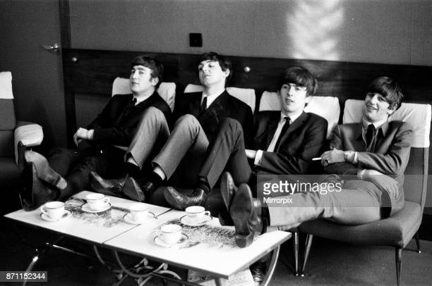 The Beatles rehearse at The Prince of Wales Theatre in London for The Royal Variety Command Performance due to take place the next day 4th November...