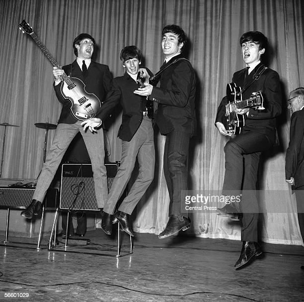 The Beatles rehearse for that night's Royal Variety Performance at the Prince of Wales Theatre 4th November 1963 The Queen Mother will attend