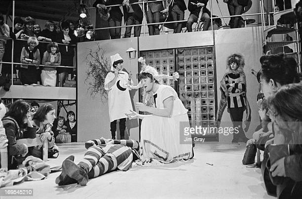 The Beatles rehearsing an excerpt from Shakespeare's 'A Midsummer Night's Dream' at the Rediffusion TV studios in Wembley London 27th April 1964 John...