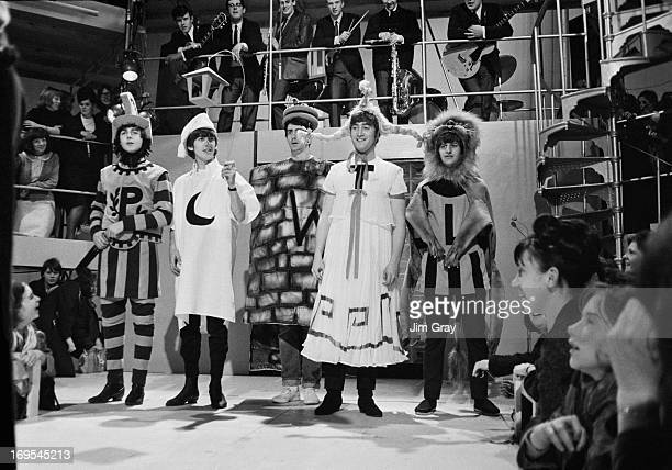 The Beatles rehearsing an excerpt from Shakespeare's 'A Midsummer Night's Dream' at the Rediffusion TV studios in Wembley London 27th April 1964 They...