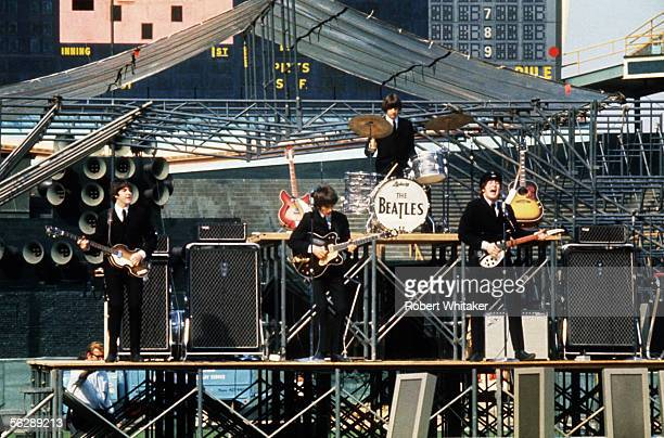 The Beatles rehearsing for a performance at Comiskey Park Chicago 20th August 1965
