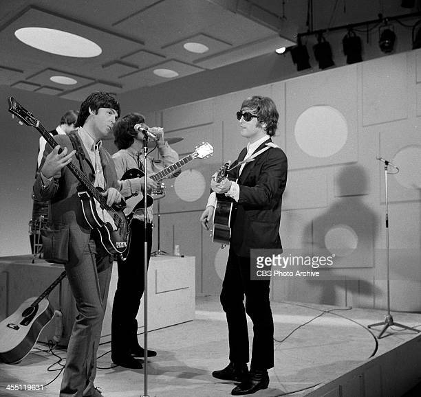 The Beatles rehearsing for their final performance on THE ED SULLIVAN SHOW. Image dated August 14, 1965. From left: Paul McCartney, George Harrison,...