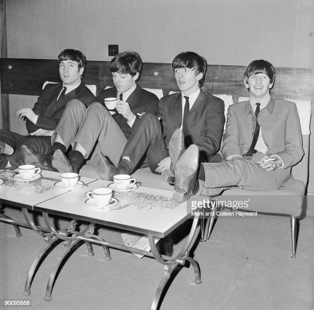 The Beatles relax backstage at London's Prince of Wales Theatre before the Royal Variety Performance 4th November 1963 They are supporting Marlene...