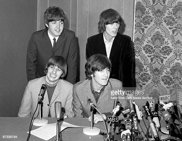 The Beatles Ringo Starr and John Lennon and Paul McCartney and George Harrison meet the press at the Warwick Hotel