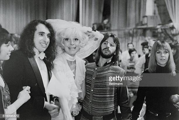 The Beatles' Ringo Starr and wife Maureen join Tiny Tim and his new bride Miss Vicki and Carol Channing at NBC's Burbank studios where Ringo Tiny and...