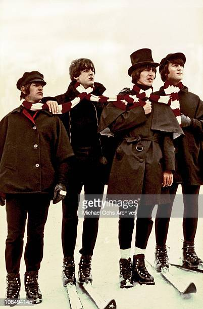 The Beatles Ringo Starr Paul McCartney George Harrison and John Lennon pose for a photo in March 1965 in Obertauern Austria while filming their...