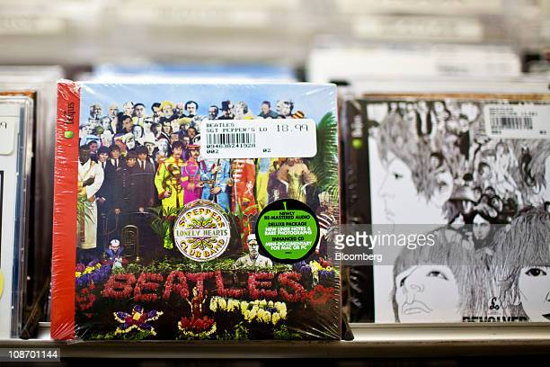 The Beatles 'Sgt Pepper's Lonely Hearts Club Band' and 'Revolver' albums are displayed for sale at Bleeker Bob's record shop in New York US on...