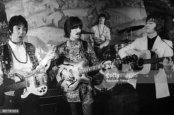 The Beatles singing their hit 'Hello Goodbye' during a TV show on the stage of the Saville Theatre in 1968 in London United Kingdom