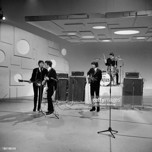 The Beatles third appearance on The Ed Sullivan Show. Image dated August 14, 1965. From left: Paul McCartney, John Lennon, George Harrison and Ringo...