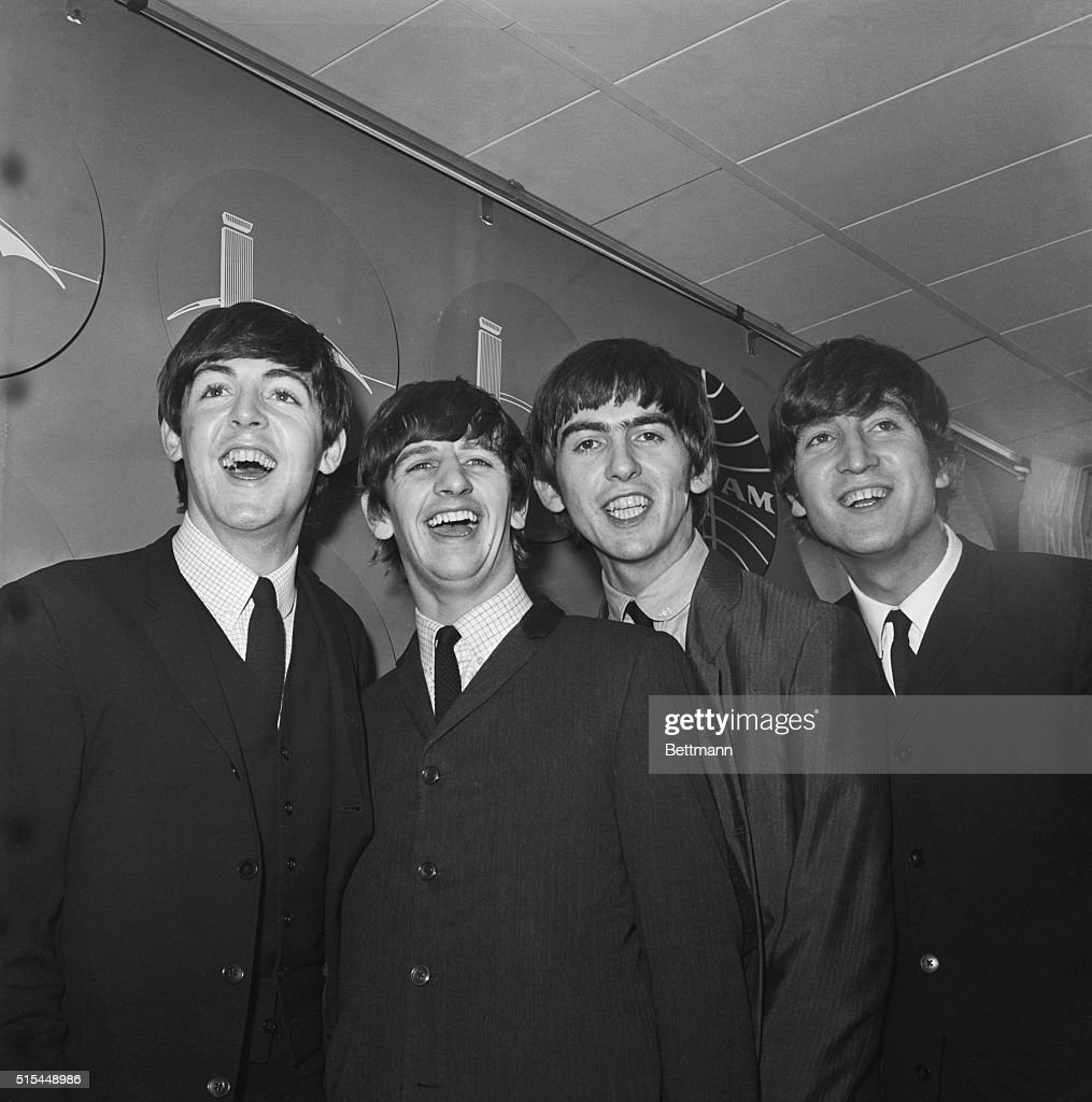 The Beatles upon arrival from London in 1964. From Left to right: Paul McCartney, Ringo Starr, George Harrison and John Lennon.