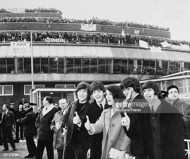 The Beatles With Eleanor Bron At London Airport At London In England On February 22Nd 1965