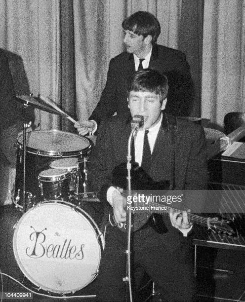 The BEATLES, with John LENNON at the mic' and Ringo STARR on the drums, in Liverpool, where the group started out around 1962-1963.