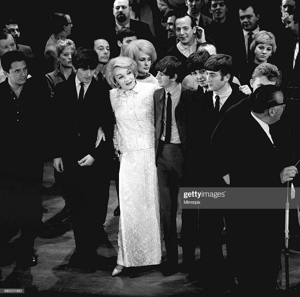 The Beatles with Marlene Dietrich at the Royal Variety Show dress rehearsals, Prince of Wales Theatre, London, 4 Novembe : News Photo