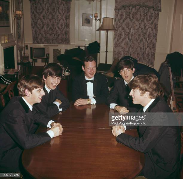 The Beatles with their manager Brian Epstein , 1963. From left to right, Ringo Starr, George Harrison, Epstein, Paul McCartney and John Lennon.