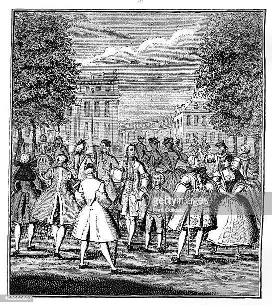 'The Beau Monde in St James's Park' 1750 The smart set parading in a London park with a quote from Alexander Pope The ruling passion be it what it...