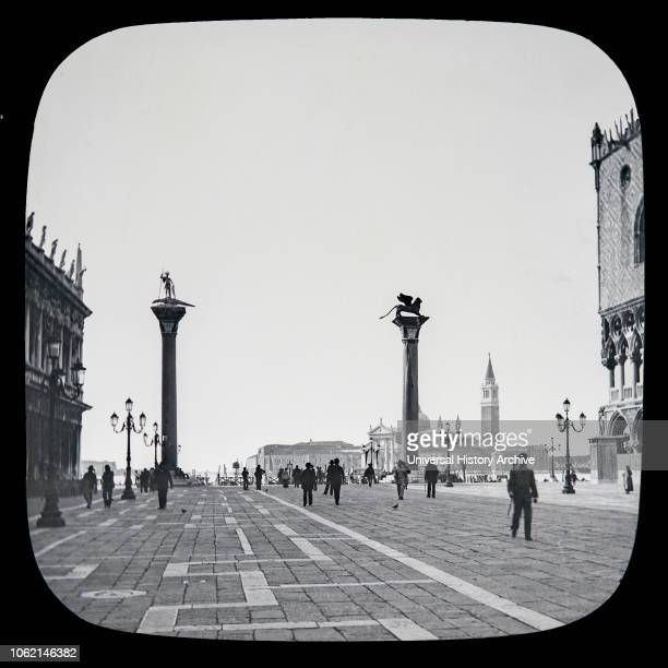 The beauties of Venice circa 1900 on a magic lantern slide photographs created in 1888 by Joseph John William Small Piazza leading to the lagune with...