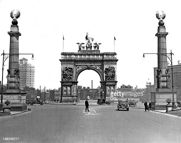 The beautiful arch at the entrance to Prospect Park one of the largest municipal parks in the United States Brooklyn New York New York early to mid...