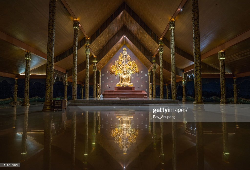 The beautiful Buddha statue in Sirindhorn Wararam Phu Prao Temple. : Stock Photo
