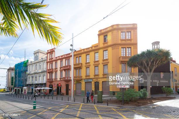 "the beautiful ""calle imeldo seris"" street with tram, in santa cruz de tenerife city (canary islands, spain) - atlantic islands stock pictures, royalty-free photos & images"