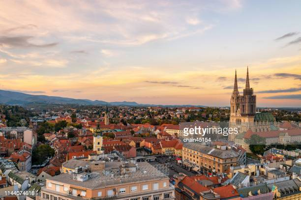 the beautiful church with the old buildings in small town in zagreb city of croatia. - zagreb stock-fotos und bilder