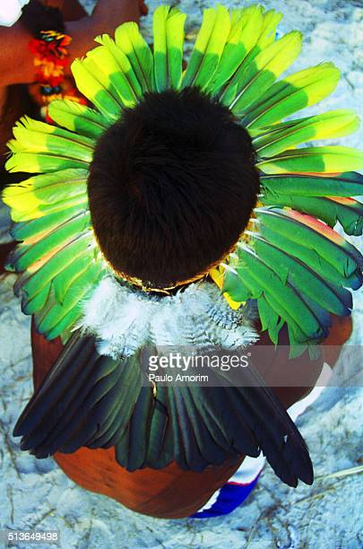 The beautiful colors of the Indians in Amazon