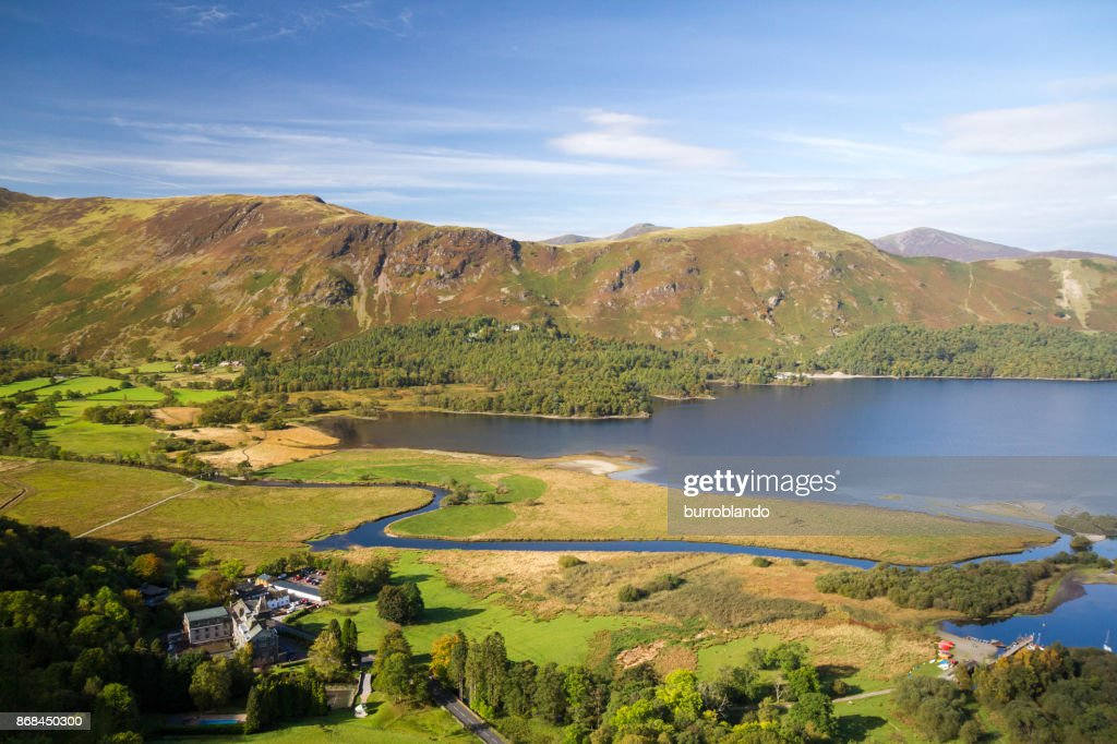 The beautiful Derwentwater out of Keswick on a lovely English day : Stock Photo