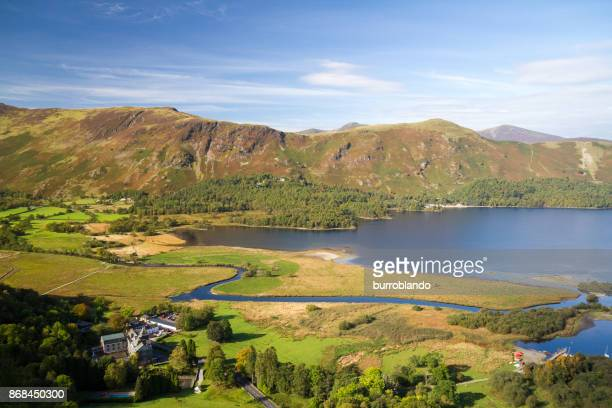 the beautiful derwentwater out of keswick on a lovely english day - keswick stock photos and pictures