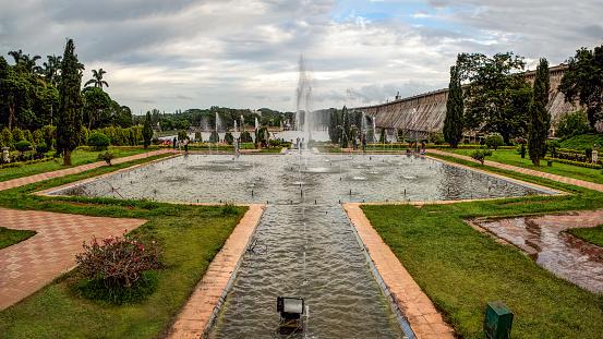 The beautiful fountains in Brindavan Gardens and the Krishnaraja Sagar Dam, Mysore, India - gettyimageskorea