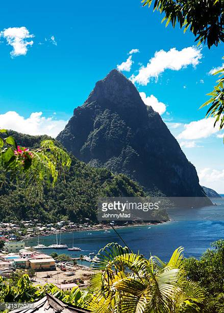 the beautiful gros piton of saint lucia on a sunny day - caribbean culture stock pictures, royalty-free photos & images