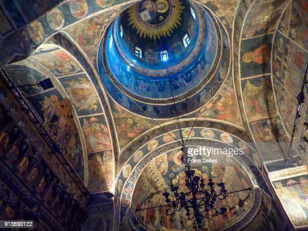 The beautiful interior of the famous Stavropoleos church, Bucharest, Romania