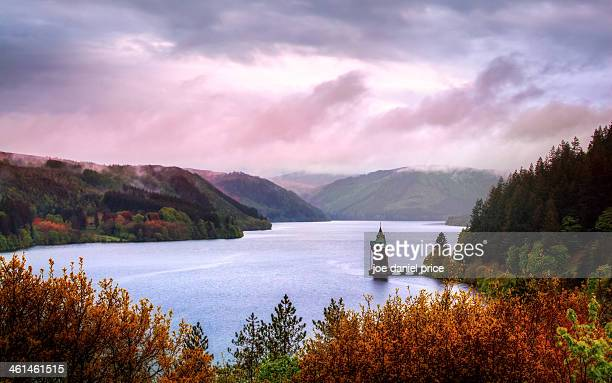the beautiful landscape of lake vyrnwy, wales - lake vyrnwy stock pictures, royalty-free photos & images