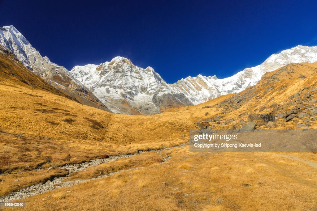The beautiful landscape of the Annapurna massif and the grassland in foreground from the Annapurna Base Camp (ABC) in the dry season. : Stock Photo